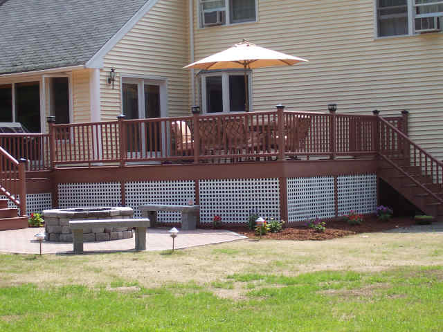... 2 Teir Composite Deck With Paver Brick Patio, Fire Pit, Granite Benches  And Low ...